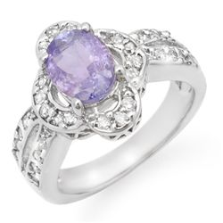 Genuine 3.0ct Tanzanite & Diamond Ring 14K White Gold