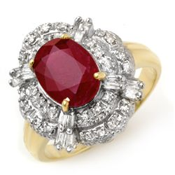Genuine 2.84 ctw Ruby & Diamond Ring 14K Yellow Gold