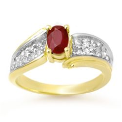 Genuine 1.43 ctw Ruby & Diamond Ring 10K Yellow Gold