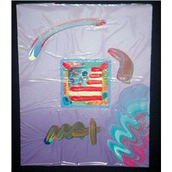 Original Handsigned Peter Max Overpaint - Flag