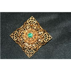 Vintage Gold & Green Stone Brooch