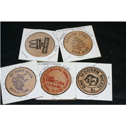 Lot of 5, Wooden Tokens