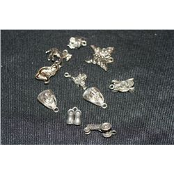 Lot of 10, Various Pewter Charms