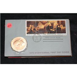 1976 American Revolution Bicentennial Commemorative Medal & First Day Issue Stamps