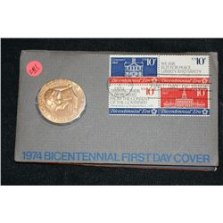 1974 American Revolution Bicentennial Commemorative Medal & First Day Issue Stamps