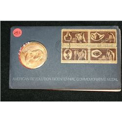 1972 American Revolution Bicentennial Commemorative Medal & First Day Issue Stamps