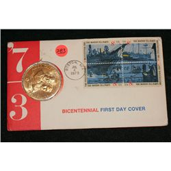 1973 American Revolution Bicentennial Commemorative Medal & First Day Issue Stamps