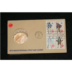 1975 American Revolution Bicentennial Commemorative Medal & First Day Issue Stamps