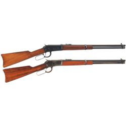 Two Winchester Lever Action Carbines -A) Winchester Model 1894 Lever Action Saddle Ring Carbine