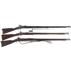 Three Percussion Long Guns -A) Bridesburg Model 1861 Musket with Bayonet