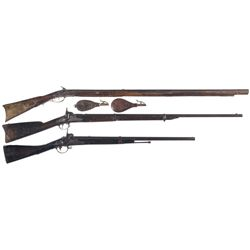 Three Percussion Long Guns -A) Ketland & Co. Marked Percussion Conversion Rifle with Two Powder Flas