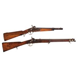 Two Percussion Carbines -A) Unknown Percussion Carbine