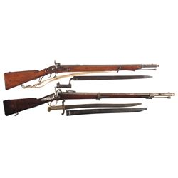 Two Percussion Long Guns -A) Unmarked Percussion Conversion Rifle with Bayonet and Sling