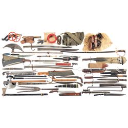 Large Grouping of Edged Weapons and Three Miniature Cannons