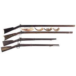 Four Percussion Long Guns -A) Melchior Full Stock Percussion Rifle with Powder Horns
