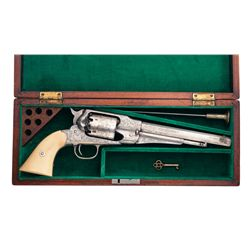 Cased Custom Engraved Remington New Model Army Percussion Revolver with Bone Grips