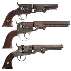 Three Percussion Revolvers -A) Bacon Arms Pocket Model Percussion Revolver