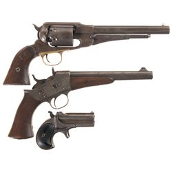 Three Antique Remington Handguns -A) Martially Inspected Remington New Model Army Percussion Revolve