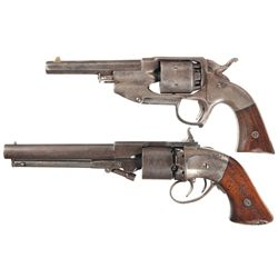 Two Navy Percussion Revolvers -A) Rare Allen & Wheelock Center Hammer Navy Percussion Revolver