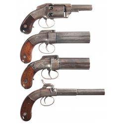 Four American Percussion Handguns -A) Allen & Wheelock Large Frame Double Action Pocket Revolver