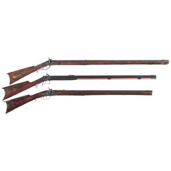 Three Percussion Rifles -A) Full Stock Percussion Conversion Rifle