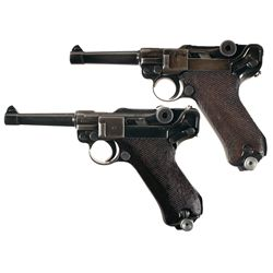 Two Luger Pistols -A) Mauser byf Code 41 Dated Luger Semi Automatic Pistol