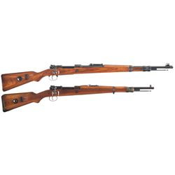 Two German Military Bolt Action Long Guns -A) Sauer 147 Code 1939 Dated K98 Bolt Action Rifle