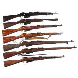 Seven Military Bolt Action Long Guns -A) Italian Model 1891 Carcano Bolt Action Carbine