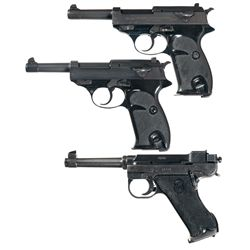 Three Semi-Automatic Pistols -A) Walther P-38 Semi-Automatic Pistol