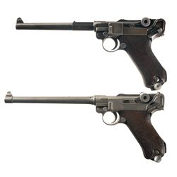 Two Luger Semi Automatic Pistols -A) Mauser byf Code 42 Date Luger P.08 Semi-Automatic Pistol with L