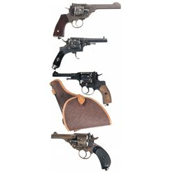 Four European Double Action Revolvers -A) Webley Mark VI Double Action Revolver with Holster