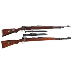 Two WWII German 98K Bolt Action Rifles -A) Mauser byf-43 K98 Bolt Action Rifle with Bayonet
