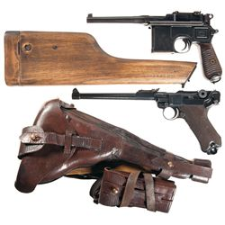 Two German Pistols -A) Mauser Model 1930 Broomhandle Semi-Automatic Pistol with Holster Stock