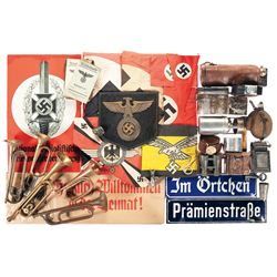 Grouping of Bugles, Nazi Flags and Other Assorted Items