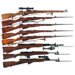 Eight Military Longarms -A) Mosin Nagant Model 91/30 Sniper Rifle with Scope