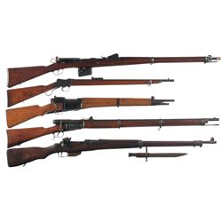Five Military Rifles -A) Schmidt Rubin Model 1889 Straight Pull Bolt Action Rifle