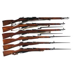 Six Mosin Nagant Bolt Action Military Longarms -A) Remington Model 1891 Mosin Nagant Bolt Action Rif