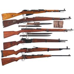 Six Bolt Action Rifles -A) Nagant Model 91/59 Bolt Action Rifle