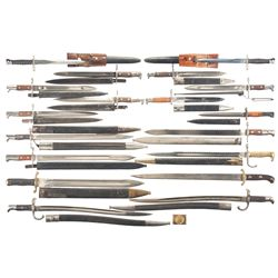 Sixteen European Bayonets and Two Short Swords