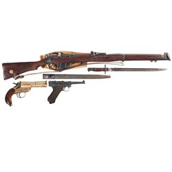 One Rifle, One Pistol and One Flare Pistol -A) Enfield SMLE Mark III* Bolt Action Rifle with Bayonet