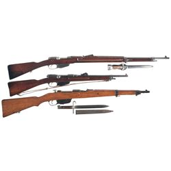 Three European Bolt Action Longarms -A) Steyr Mannlicher Model 1895 Bolt Action Rifle