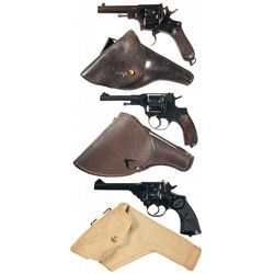 Three Double Action Revolvers with Holsters -A) Mida Brecia Folding Trigger Double Action Revolver