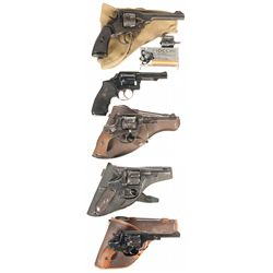 Five Double Action Military Revolvers -A) Webley Mark VI Double Action Revolver with Accessories