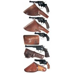 Five Double Action Revolvers with Holsters -A) Husqvarna Model 1887 Officer's Model Double Action Re