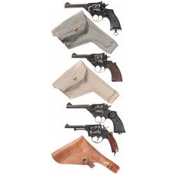 Four Double Action Revolvers -A) Webley Mark IV Double Action Revolver with Holster