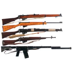 Three British Bolt Action Longarms and Two Mock Training Rifles -A) Enfield SMLE III* Bolt Action Ri
