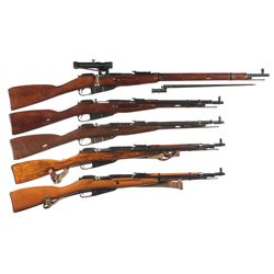 Five Bolt Action Military Longarms -A) Mosin Nagant Model 91/30 PU Sniper Bolt Action Rifle with Bay