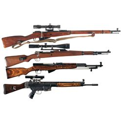 Two Scoped Bolt Action Rifles and Two Semi-Automatic Rifles -A) Mosin-Nagant Model 91/30 Bolt Action