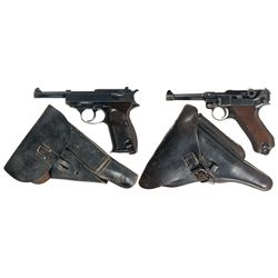 "Two German Semi-Automatic Pistols with Holsters -A) Walther ""ac 44"" Code P-38 Semi-Automatic Pistol"