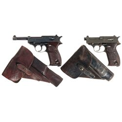 "Two P-38 Pistols with Holsters -A) Walther ""ac/41"" Semi-Automatic Pistol"